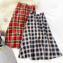 AcFirst Women Blue Red Skirts High Waist Mid-Calf Long Skirt Clothing A-Line Vintage Plaid Leather