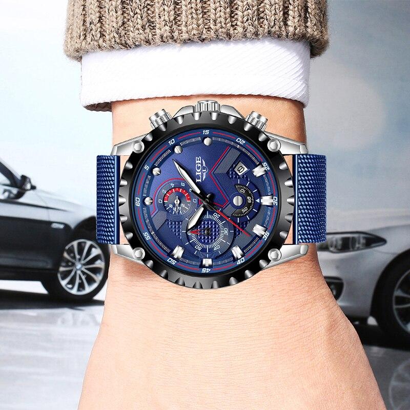 LIGE New Watch For Men Blue Casual Mesh Belt Fashion Quartz Watch Mens Watches Top Brand Luxury Waterproof Clock Erkek Kol Saati in Quartz Watches from Watches