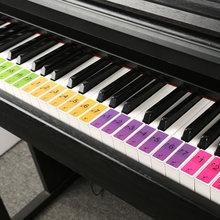 ملصقات لوحة مفاتيح البيانو مع 88 مفتاحًا ، 2 في 1 ، ملاحظة موسيقية مرقمة وشخصية ، مفتاح بيانو إلكتروني