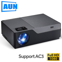 AUN Full HD Projector M18UP, 1920x1080P, Android 6.0 WIFI, Video Beamer, LED Projector for 4K Home Cinema (Optional M18 AC3)(China)