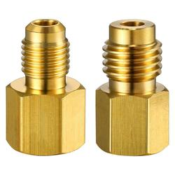 6015 R134A Brass Refrigerant Adapter to R12 Fitting Adapter 1/2 Female Acme to 1/4 Male Flare Adaptor Valve Core 6014 Vacuum
