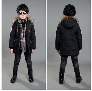 Image 2 - 4 ~ 15 세 어린이 소년 겨울 자켓 패션 디자인 소년 겨울 파카 면화 패딩 모피 후드 어린이 따뜻한 코트 겉옷