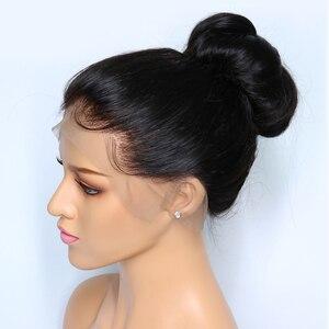 Image 2 - Peluca Frontal de encaje 360 cabello liso peruano prearrancado con cabello de bebé pelucas de cabello humano con encaje Frontal Remy 150 densidad luz cabello