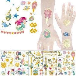 Mermaid Bronzing Cartoon Children's Metallic Gold Body Temporary Flash Tattoos For Kids Glitter Tattoo cute Stickers 160*120MM
