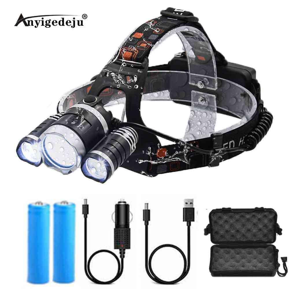 Güçlü LED far far T6 kafa lambası 6000 lümen el feneri USB meşale kafa ışık  18650 pil için en iyi kamp balıkçılık|Kafa Lambaları
