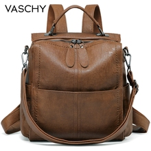 VASCHY Backpack Purse for Women Fashion Square Mini Small Convetible PU Leather Backpack Shoulder Bag for Ladies Teen Girls