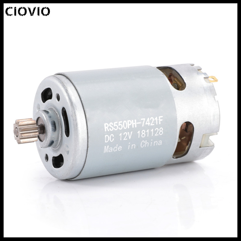CIOVIO 2PCS <font><b>RS550</b></font> Metal <font><b>12V</b></font> 19500RPM DC Motor with Single Speed 9 Teeth and High Torque Gear Box for Electric Drill/Screwdriver image