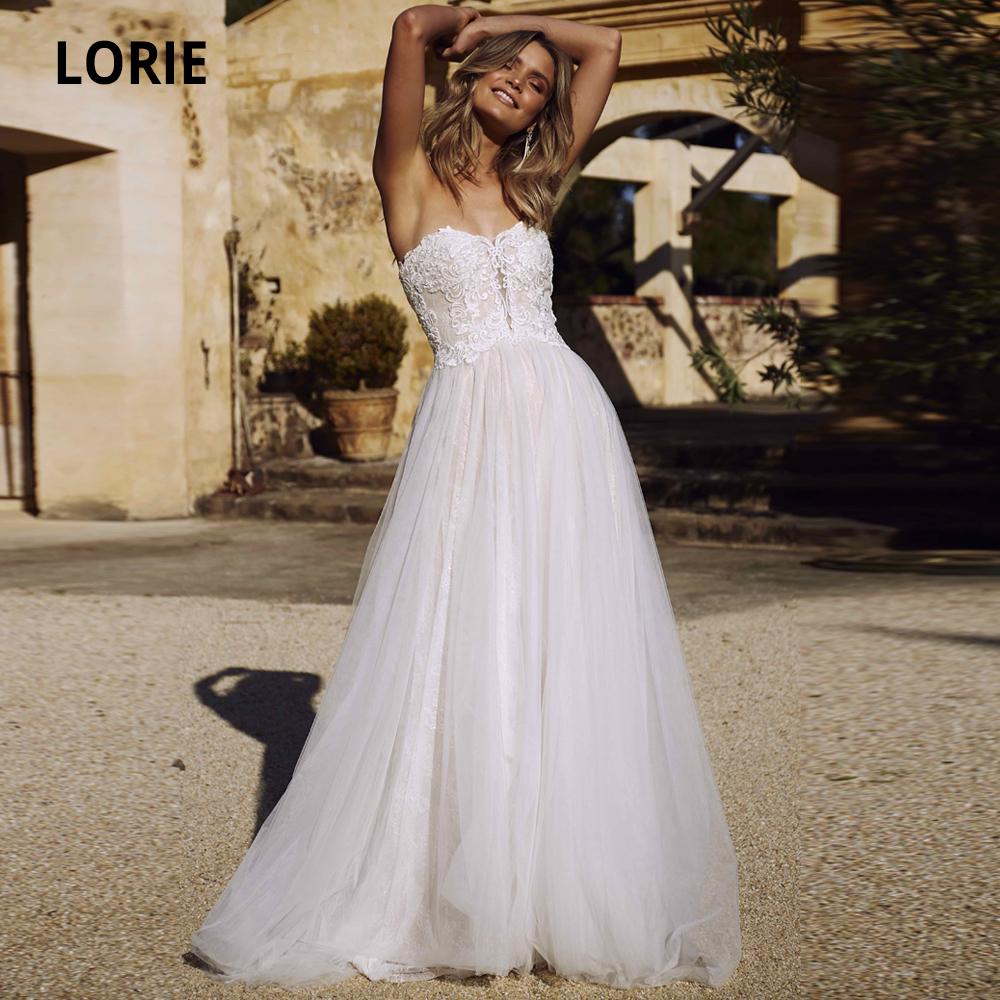 LORIE Elegant Lace Wedding Dresses Bohemia Bridal Gowns Plus Size Beach Princess Wedding Party Dress White Ivory Marriage 2020