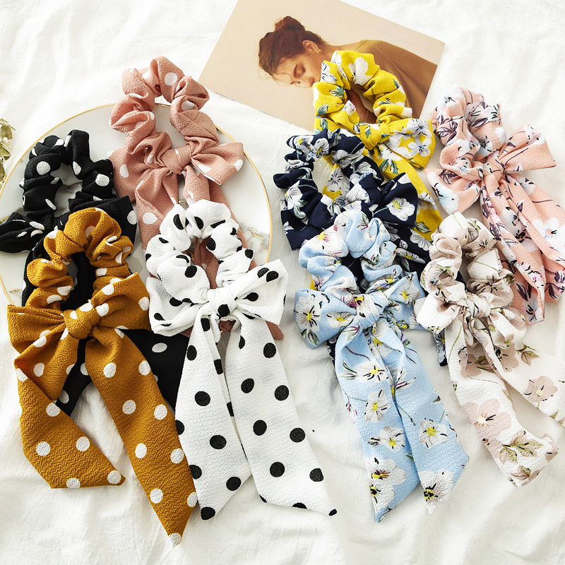 Fashion Dot Flower Printed Bows Hair Scrunchies Women Elastic Hair Bands Ponytail Holder Hair Ties Bands Girls Hair Accessories