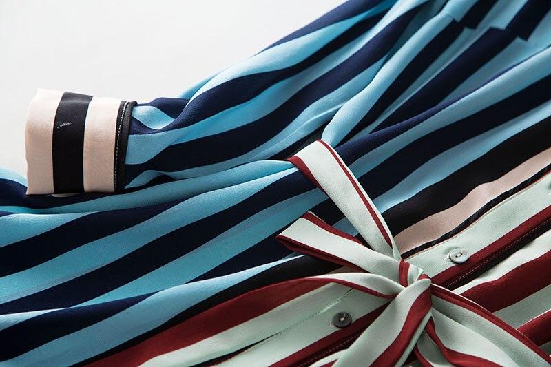2020 nuevo vestido de camisa de seda de peso pesado a la moda moderno con estampado de rayas de manga larga con lazo en la cintura ol - 5