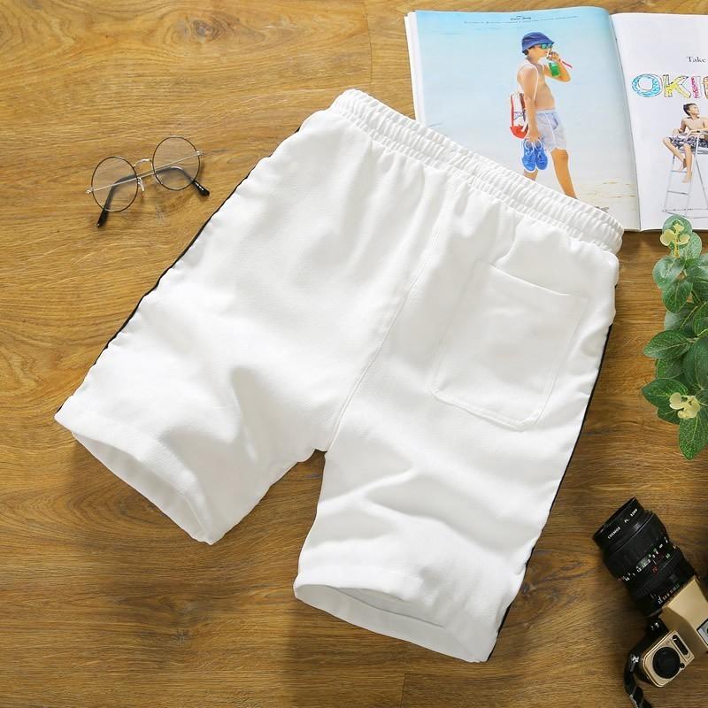 Casual Summer New Mens Fashion Side Striped Knee Length Shorts Drawstring Waist Plus Size M-5XL Male Straight Shorts Streetwear