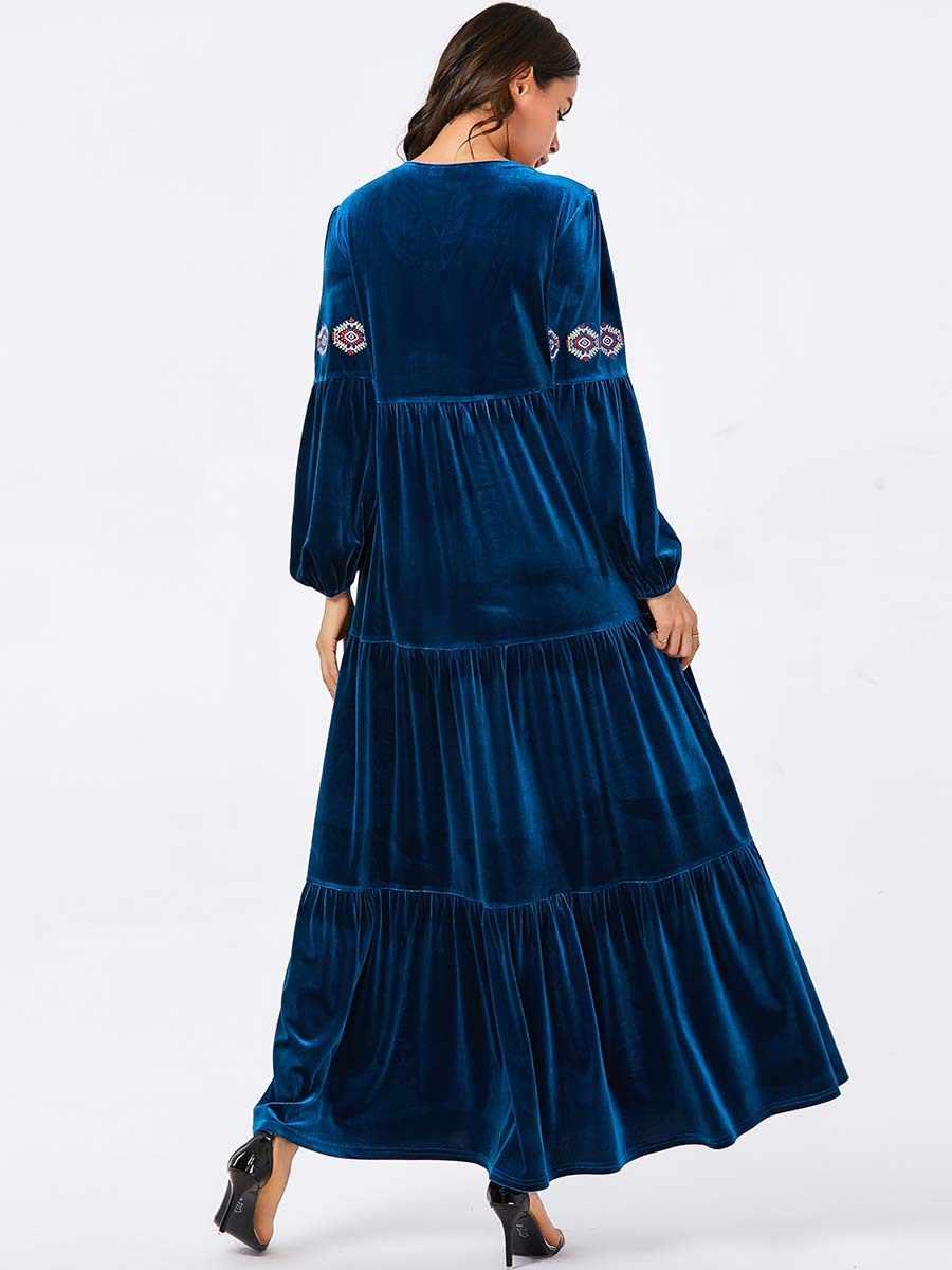 Vêtements islamiques Élégant Velours Robe Musulmane Femmes Grande Balançoire A-ligne Maxi Robe Kimono Elbise Jubah Robe Longue Imprimé Abaya Robes