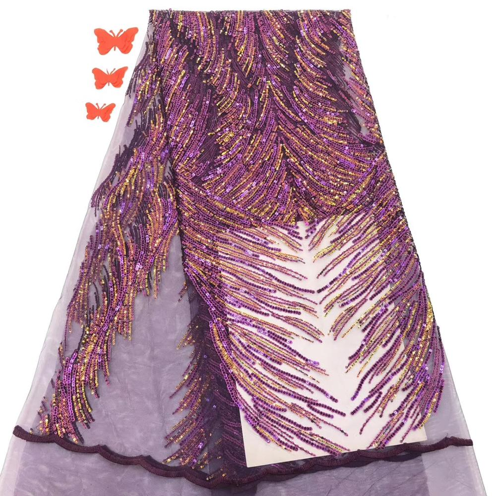 Nigerian Lace Fabric 2020 Purple Color African Fabrics French Tulle Lace Fabric With Sequins For Party Dress TS9031