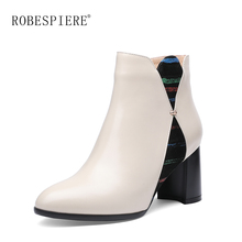ROBESPIERE Genuine Leather Ankle Boots for Women New Pointed Toe Chelsea Boots Thick Heels Shoes Woman Fashion Bota Feminina B95 цена в Москве и Питере