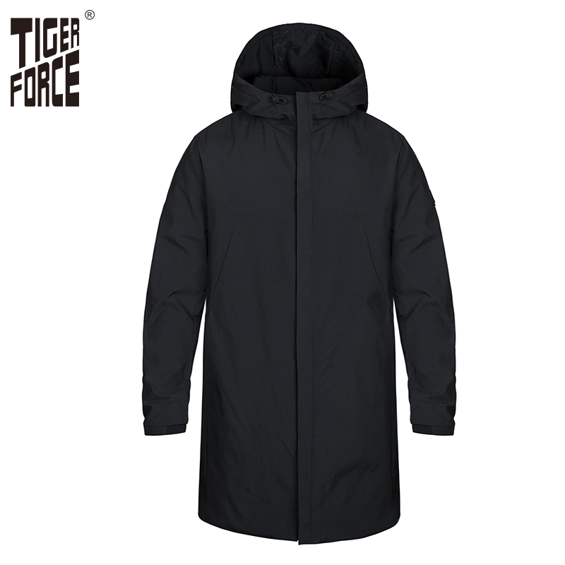 Tiger Force Business Casual Spring Parkas Men Thick Jacket Male Hooded Outerwear Clothes  Cotton Padded Overcoat Black Plus Size