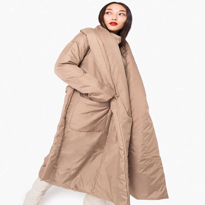 2019 Women Winter Thick warm parka Long design Maxi padded down coat robe design Casual Outerwear Black Khaki  White