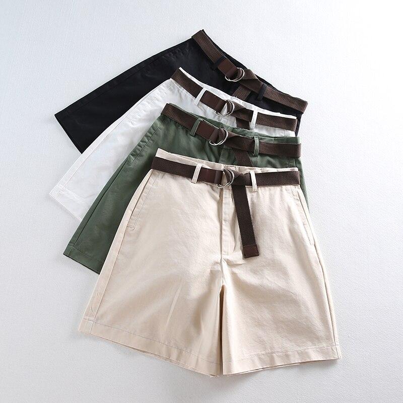 Korean Fashion Casual Summer Shorts Women Loose Wide Leg Pantalon Femme Belt Green White High Waist Shorts Female S-2XL