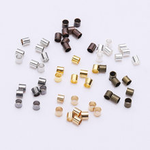 500 pçs/lote 1.5 2.0 2.5mm liga de zinco cilindro redondo grânulos crimp tubo termina espaçador grânulo cabo ponta fio conectores para fazer jóias