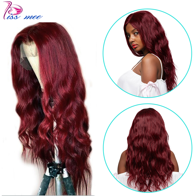 Kiss Mee Peruvian Body Wave Lace Front ginger Wigs Human Hair 99J Burgundy 13*4 Closure Wig Prepluck And  Bleached Knots
