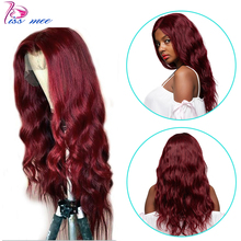 цена на Kiss Mee Peruvian Body Wave Lace Front ginger Wigs Human Hair 99J Burgundy 13*4 Lace Closure Wig Prepluck And  Bleached Knots