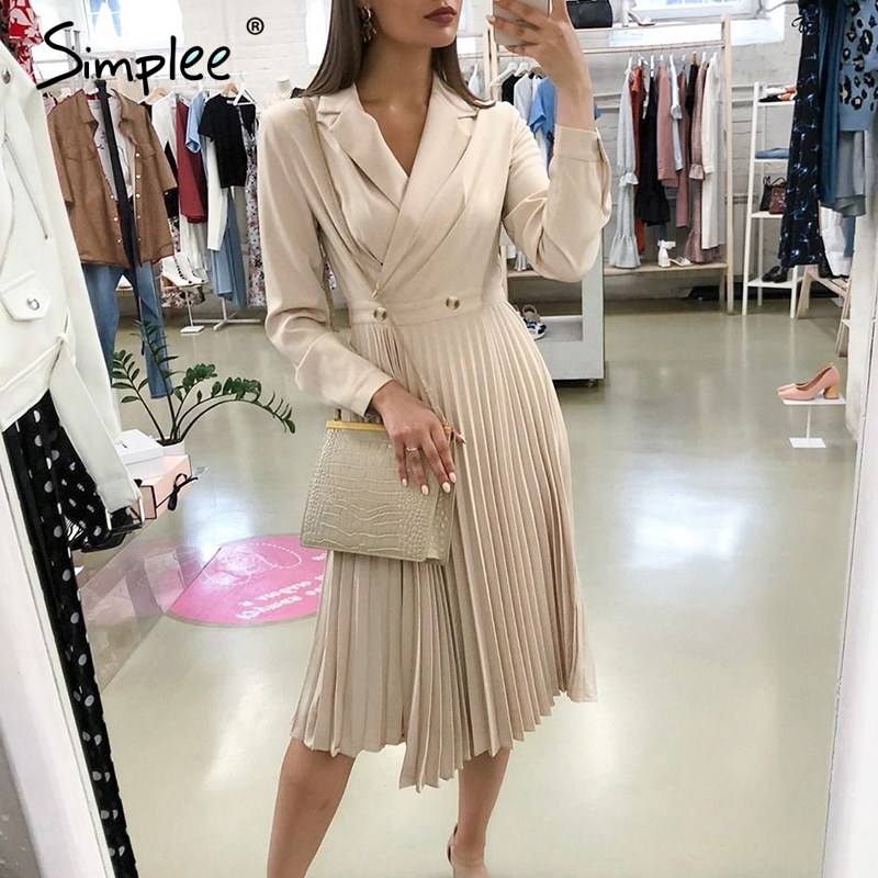 Simplee Elegant Pleated Women Office Dress Solid Breasted Ladies Blazer Dress Autumn Winter Long Sleeve Chic Female Party Dress