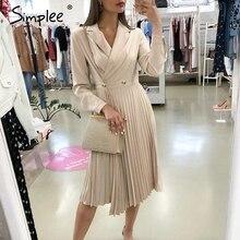 Simplee elegante plissado vestido de escritório feminino sólido breasted senhoras blazer vestido outono inverno manga longa chique feminino vestido de festa