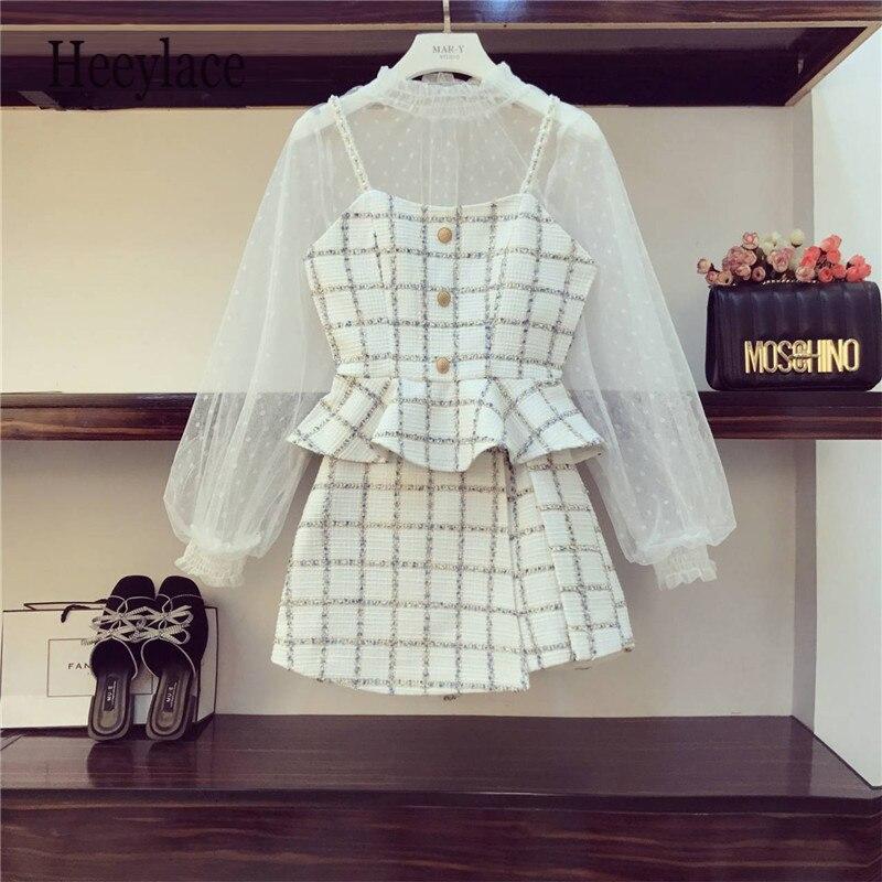 3 Piece Set Women Autumn New White Mesh Shirt + Tweed Sling Jacket + Short Skirt Lady Girls Three-piece Plaid Skirt Set