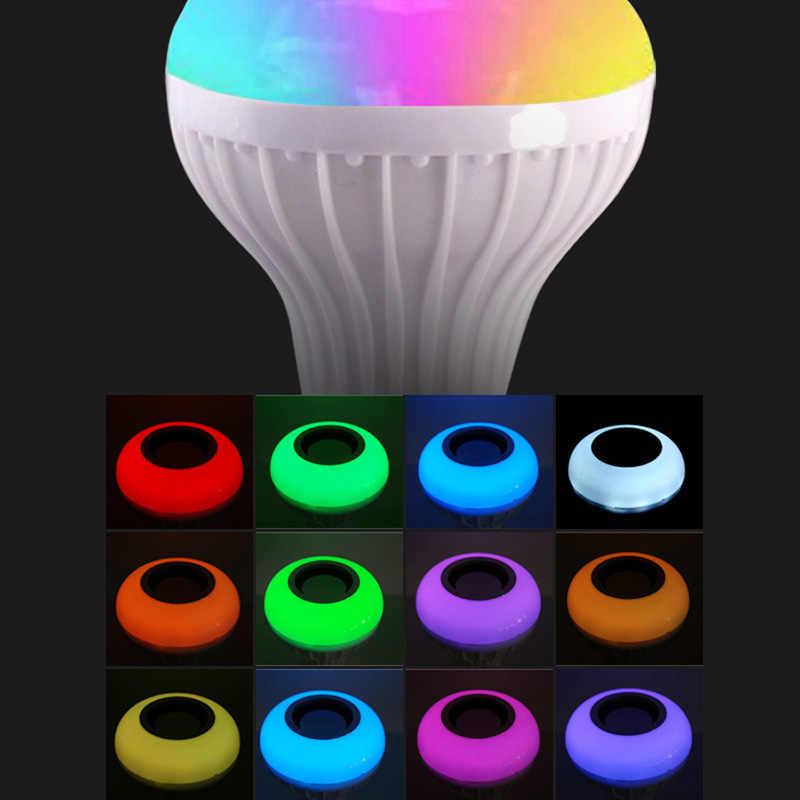 Smart E27 RGB Bluetooth haut-parleur LED ampoule lumière 12W musique jouant lampe à LED sans fil à intensité variable avec télécommande 24 touches