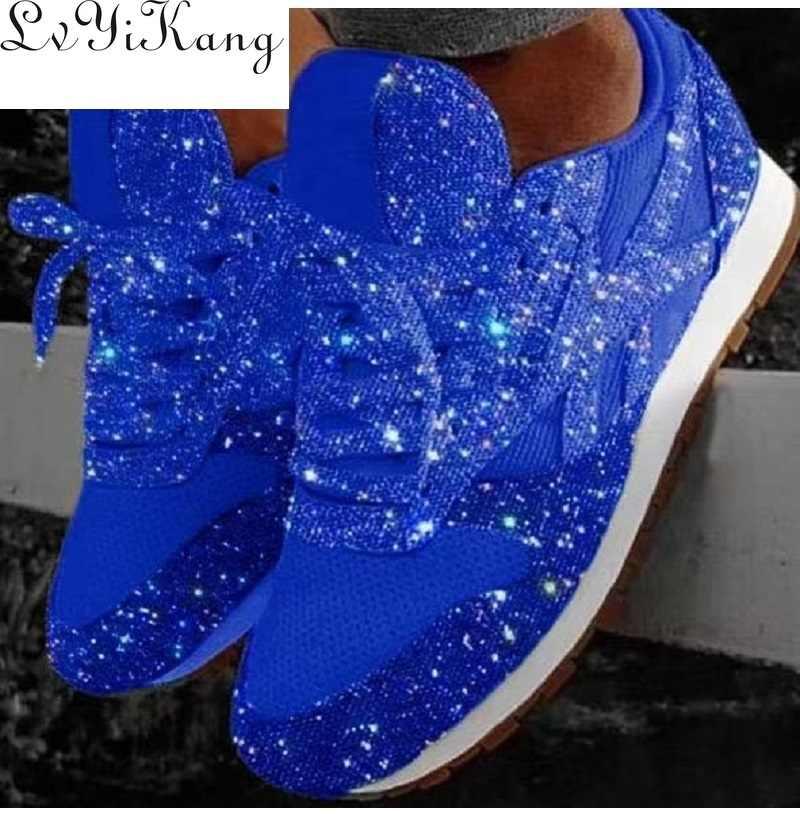 Plus Größe 35-44 Frauen Casual Schuhe Luxus Schuhe Mode Atmungs Plattform für Frauen Schwarz Atmungsaktives Mesh Glitter Turnschuhe neue