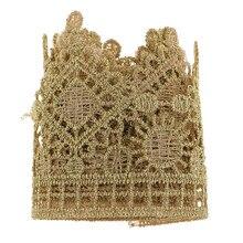 1 yarda, adornos de encaje bordado dorado, manualidades, apliques para decoración de bolso de vestido