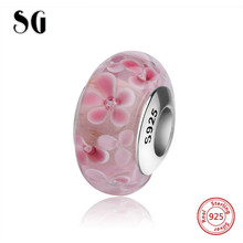 SG lovely flower petal Murano glass beads sterling silver 925 charms fit authentic pandora bracelets jewelry making women gifts