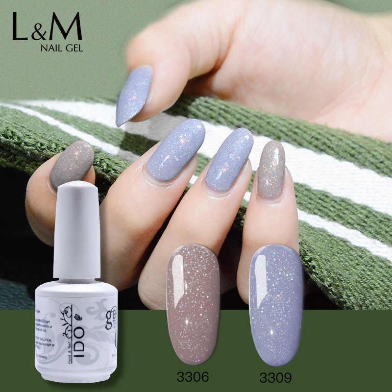 12Pcs/Banyak IDO Baru Glitter Warna-warni Sandy Seri Gel UV LED Nail Gel Rendam Off Sandy Warna Pelangi efek Glitter