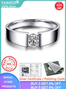 YANHUI Finger-Ring Wedding-Band Fine-Jewelry 925 1-Carat Male Original Silver Men