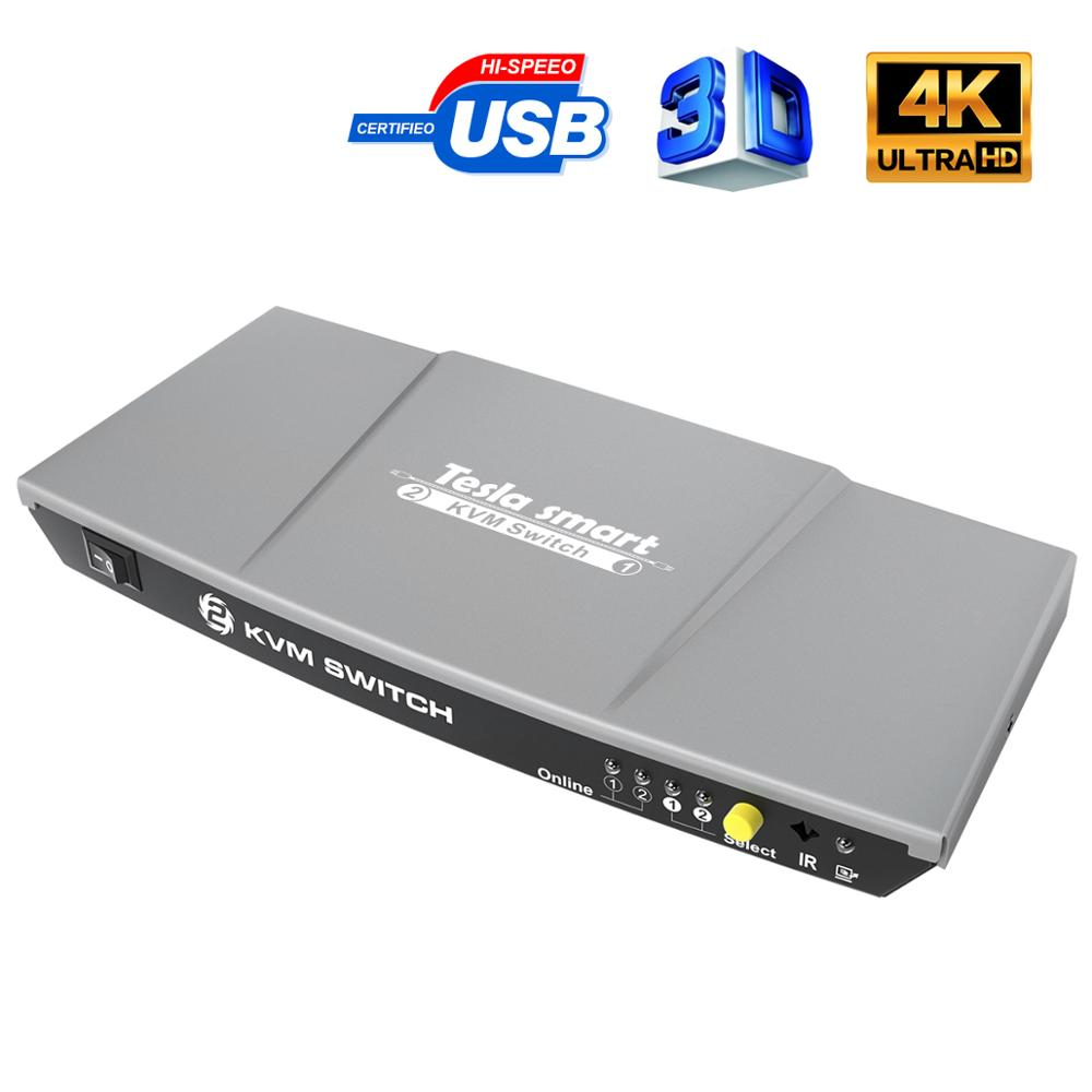 2 Ports KVM Switch HDMI USB2.0 4K@30Hz HDMI Switch 2x1 KVM 2 In 1 Out Switch KVM HDMI Sharing 2 PCs Support 3D EDID IR Remote