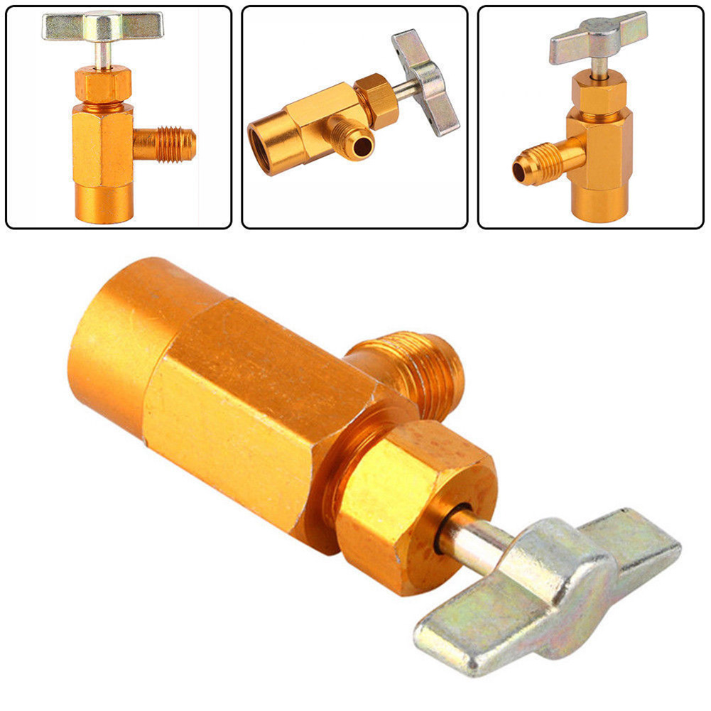 Hot <font><b>R134A</b></font> <font><b>Refrigerant</b></font> <font><b>Can</b></font> Bottle Tap Tapper Opener Connector 1/4 SAE Thread Valve X66 image