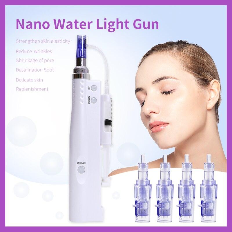 Electric Whitening Rejuvenation 5 Gears Nano Microneedles Acid Injection Derma Pen Skin Injector Water Mesotherapy Mesogun