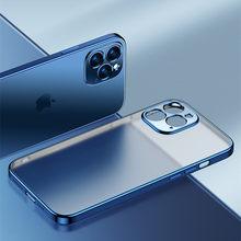 Luxo quadrado moldura chapeamento caso do telefone para o iphone 12 11 claro pro max mini x xr xs transparente de silicone capa