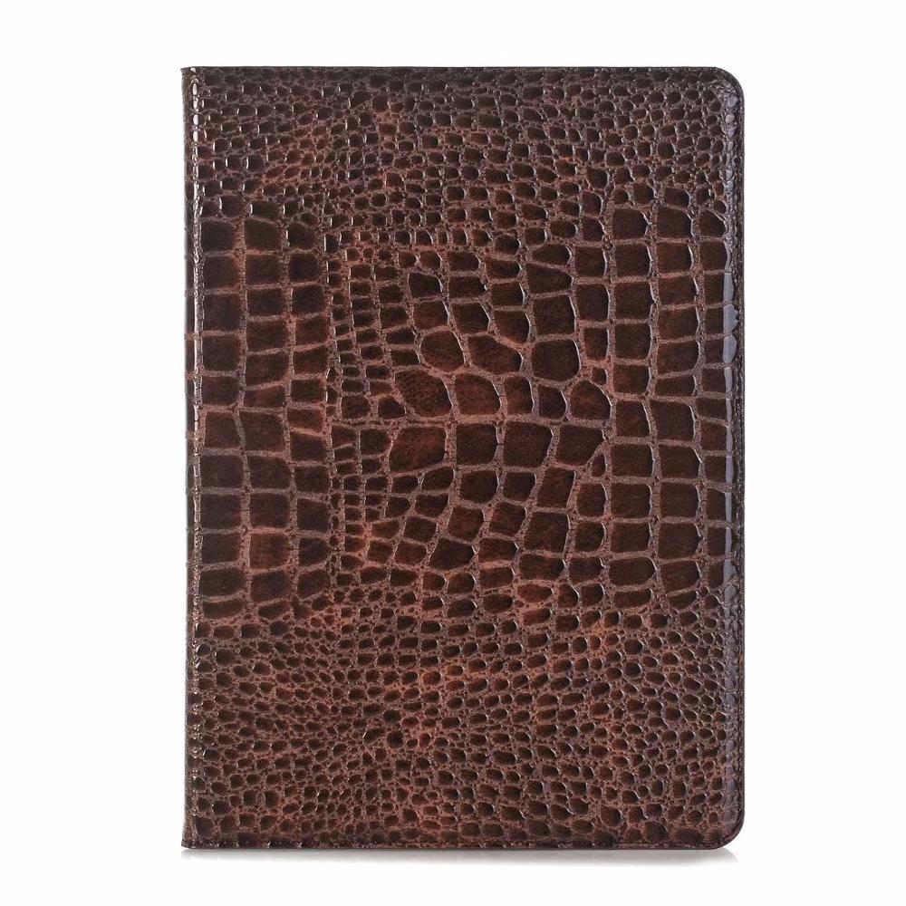 Brown Blue Luxury Folio Coque for iPad 7th 10 2 Case Crocodile Map PU Card Slot Stand A2198