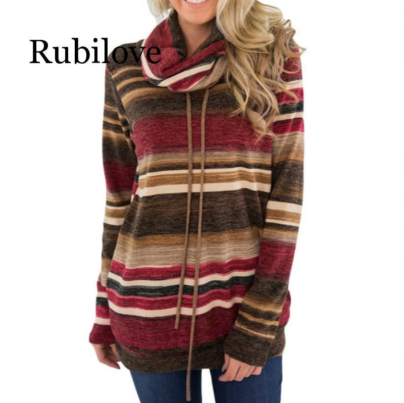 Rubilove Long Sleeve T Shirt Women Loose Autumn Print Female T-Shirt Cotton Striped T-shirt with Pockets Turtleneck Tops