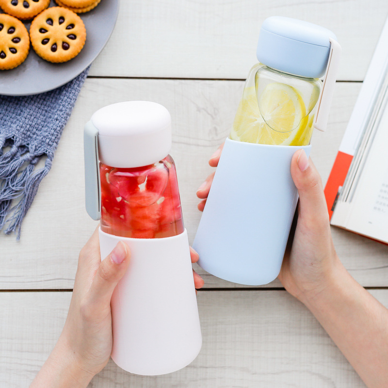 400ml Glass Water Bottle with Silicone Cover Leak Proof Drink My Bottles Outdoor Portable Rope Travel Coffee Tumbler Students|Water Bottles|   - AliExpress