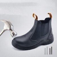 سلامة حذاء امن للعمل الرجال أحذية رياضية من الجلد مقاوم للماء تموجات حذاء برقبة للعمل الصيف الصلب أصابع المملكة المتحدة الولايات المتحدة الأسهم-في أحذية سلامة برقبة من الأمن والحماية على