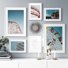 Playground Ferris Wheel Merry-Go-Round Wall Art Canvas Painting Nordic Posters And Prints Pictures For Living Room Decor