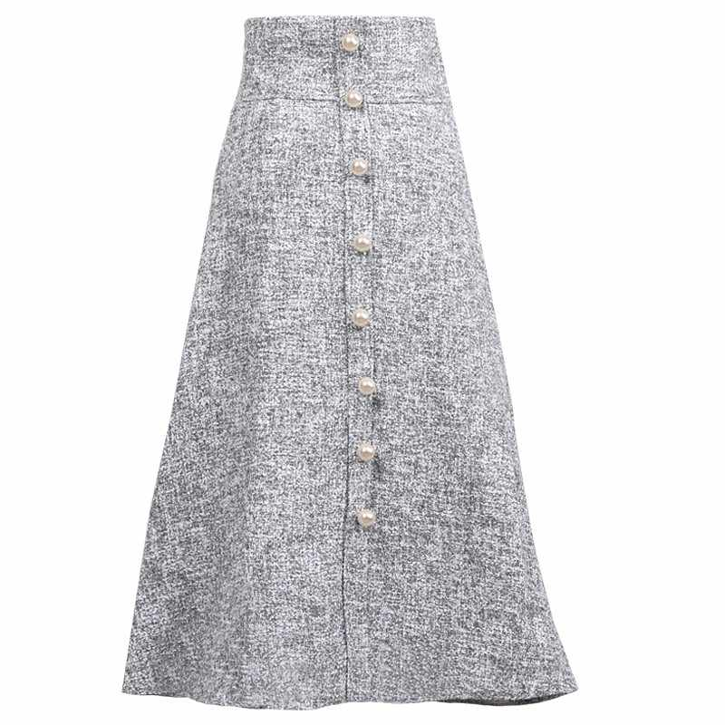 Women Fashion Elegant Long Autumn Winter Woolen Ladies Skirts Mujer Moda Solid Gray Beading Skirt Woman High Quality