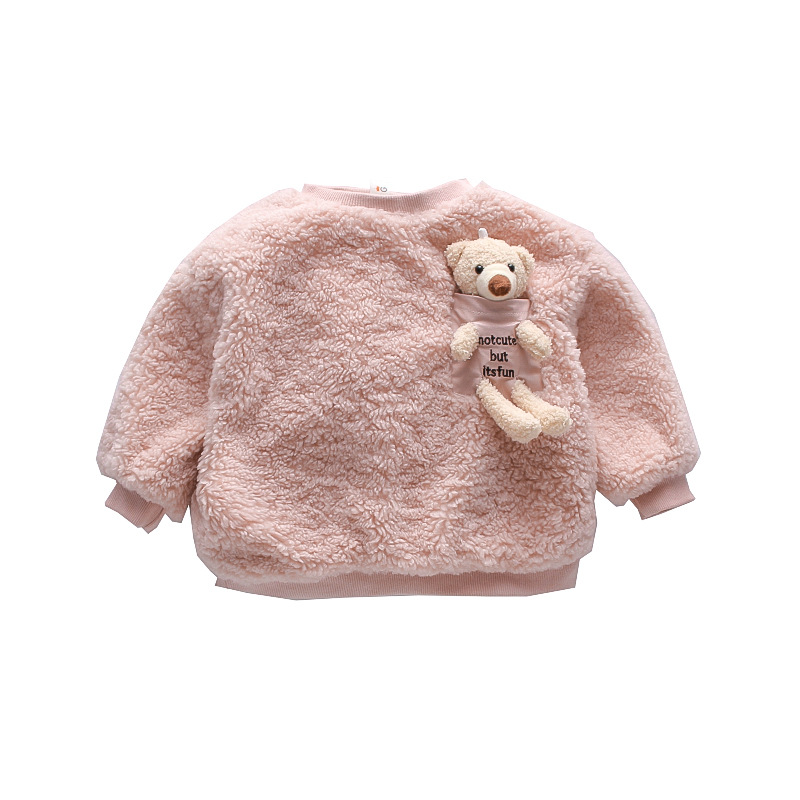 11.84US $ 30% OFF pretty princess winter thicken warm full sleeve solid with little bear tops coat o...