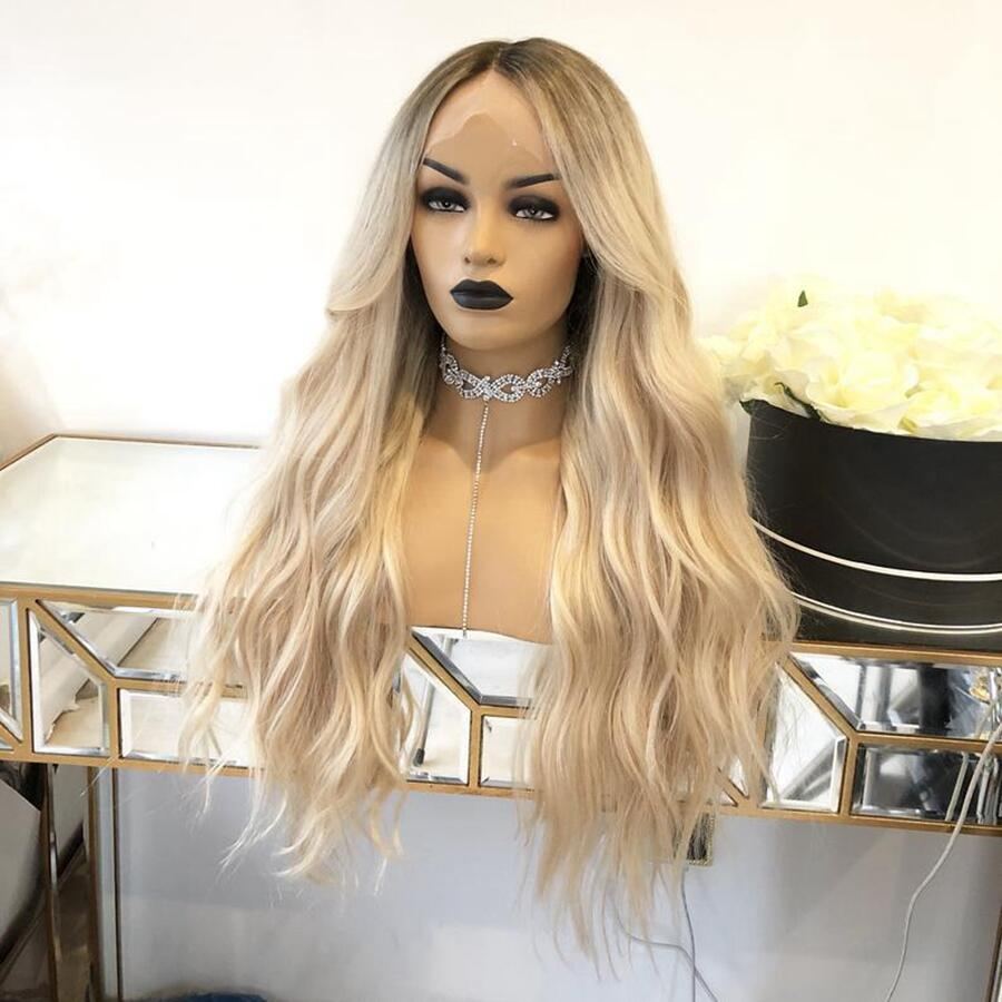 Ombre Natural Wave Glueless Highlight Full Lace Human Hair Wigs Pre-Plucked Brazilian Lace Wig With Baby Hair Ship Free