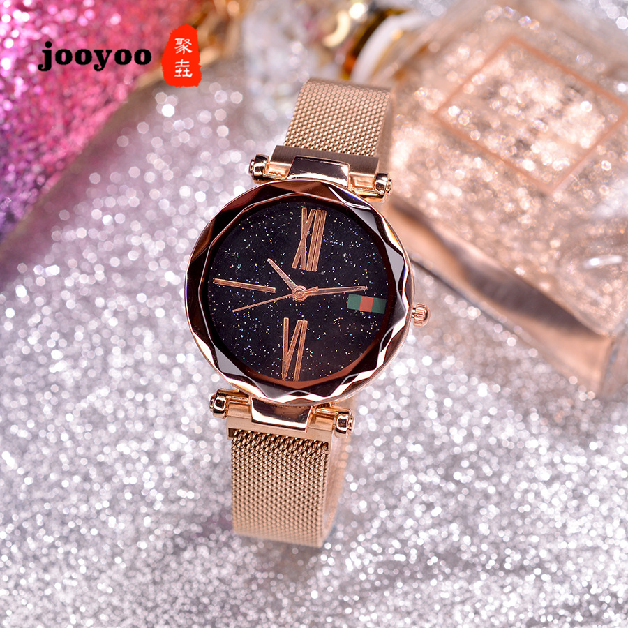 Rose Gold Purple Black Color Women's Quartz Watch Casual Luxury Mesh Magnet Buckle Starry Sky Bracelets Watches Relogio Feminino