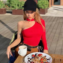 Bodysuit Women Long-Sleeve Winter One-Shoulder Spring Sexy HALTER Cotton Casual New-Fashion