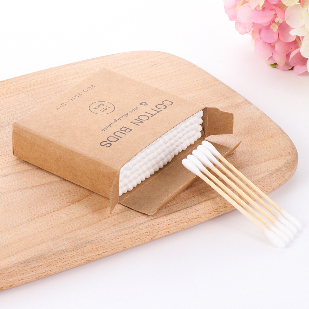 100Pcs Disposable Double Head Bamboo Cotton Swab Wood Sticks  Buds Cotton Nose Ears Cleaning Makeup Beauty Tools