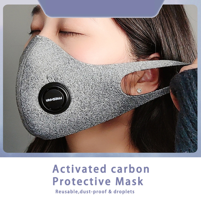 Unisex Dust korean Black Safety Face Mask with N95 Filter Breathable Activated Carbon Respirator Mask for anti dust Anti Flu 2