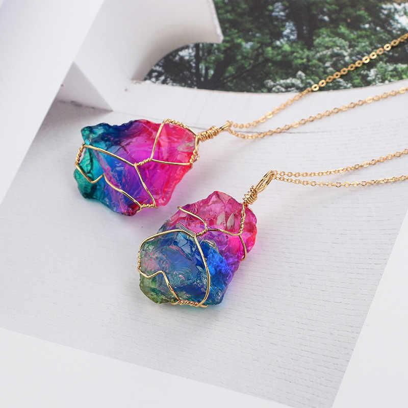 Handmade 7 Chakra ธรรมชาติ/Rainbow หินจี้สร้อยคอผู้หญิงผู้ชายยาว chain เครื่องประดับของขวัญ